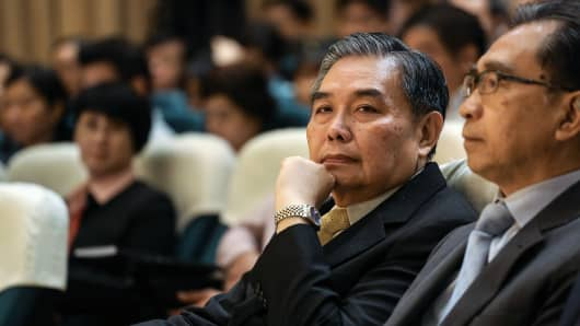 Apisak Tantivorawong, Thailand's finance minister, attends a seminar at the Stock Exchange of Thailand in Bangkok, Thailand, on Monday, Sept. 28, 2015.