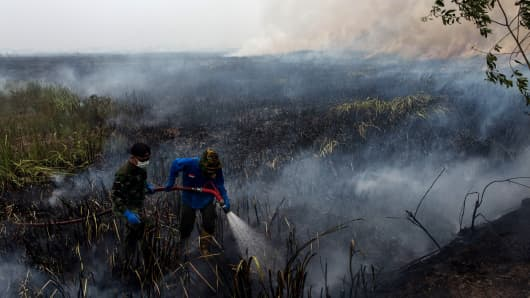 Indonesian soldiers extinguish the fire on burned peatland and fields on October 2, 2015 in South Sumatra, Indonesia.