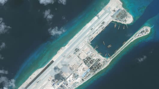 Imagery of the nearly completed construction within the Fiery Cross Reef located in the South China Sea. Fiery Cross is located in the western part of the Spratly Islands group.
