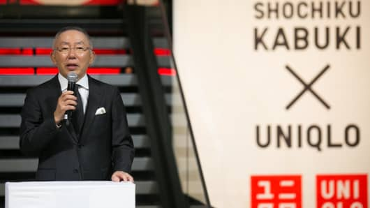 Tadashi Yanai, Chairman, President and CEO of 'Fast Retailing' attends the 'Shochiku Kabuki X Uniqlo' collection launch at Uniqlo store on March 19, 2015 in Paris, France.