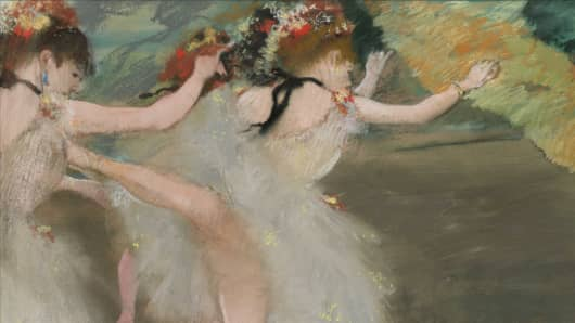 A detail from Danseuses en blanc by Edgar Degas, part of the A. Alfred Taubman collection.