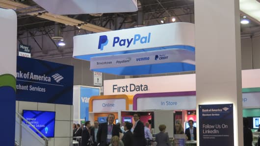 Company signage at the Money 20/20 conference last year.
