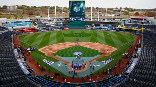 A view of Kauffman Stadium as the Kansas City Royals prepare for Game 1 of the 2015 World Series between the Royals and New York Mets.