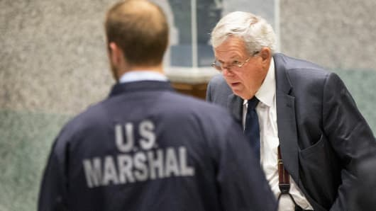 Former Republican Speaker of the House Dennis Hastert arrives at the Dirksen Federal Courthouse on October 28, 2015 in Chicago.