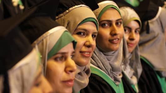 Students at the University College of Applied Sciences in Gaza City, Gaza, attend a graduation ceremony on September 8, 2014.