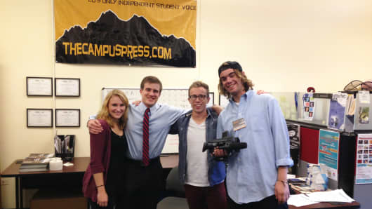 Editor-in-Chief Jordyn Siemens and some of her staff at the CU Independent as they prepare to cover the GOP debate on their campus, Oct. 28, 2015.