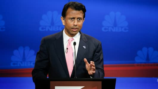Bobby Jindal on stage during the GOP Debate at the University of Colorado in Boulder, Colorado on October 28, 2015.