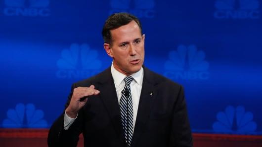 Sen. Rick Santorum at the CNBC GOP Debate in Boulder, Colorado.