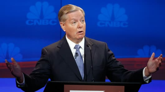 GOP Candidate Lindsey Graham on stage during the GOP Debate at the University of Colorado in Boulder, Colorado on October 28, 2015.