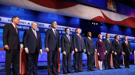 Republican candidates at the CNBC GOP Debate in Boulder, Colorado.