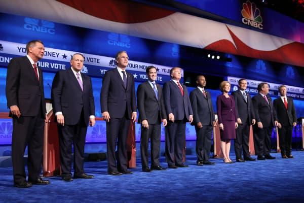 Republican candidates at the CNBC GOP Debate in Boulder, Colorado.