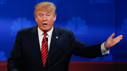 Donald Trump at the CNBC GOP Debate in Boulder, Colorado.
