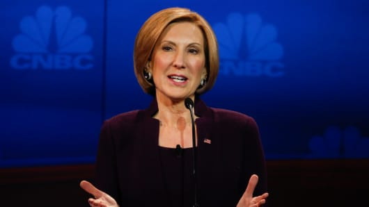 GOP Candidate Carly Fiorina on stage during the GOP Debate at the University of Colorado in Boulder on October 28, 2015.