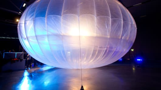 A high altitude WiFi internet hub Google Project Loon balloon is displayed at the Airforce Museum in Christchurch on June 16, 2013. Google revealed top-secret plans on June 15 to send balloons to the edge of space with the lofty aim of bringing Internet to the two-thirds of the global population currently without web access.