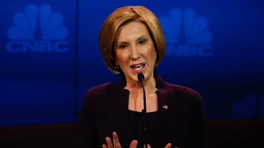 GOP Candidate Carly Fiorina on stage during the GOP Debate at the University of Colorado in Boulder, Colorado on October 28, 2015.