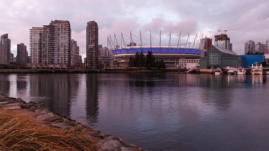 An exterior view of BC Place in Vancouver, Canada.