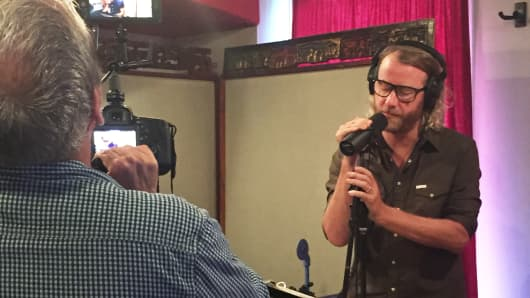 The National's lead singer, Matt Berninger at a recording session for his new project, El Vy.