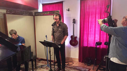 Matt Berninger and Brent Knopf of El Vy recording at The Cutting Room in New York City.