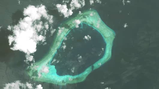 Imagery of the Subi Reef in the South China Sea, a part of the Spratly Islands group.