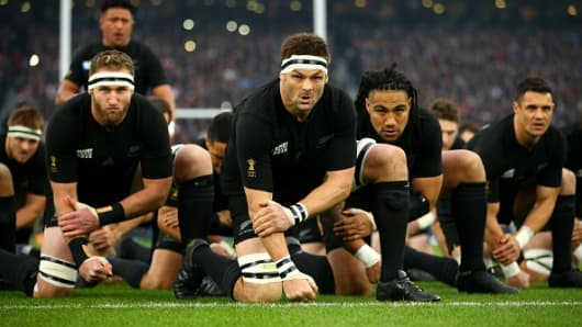 The New Zealand All Blacks perfrom the Haka during the 2015 Rugby World Cup Semi Final match between South Africa and New Zealand.