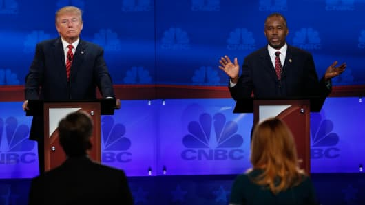 Donald Trump and Ben Carson at the CNBC GOP Debate in Boulder, Colorado.