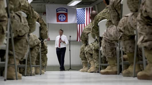 U.S. Defense Secretary Ash Carter talks to troops from the 82nd Airborne Division at the Baghdad International Airport in Baghdad, Iraq, July 23, 2015.