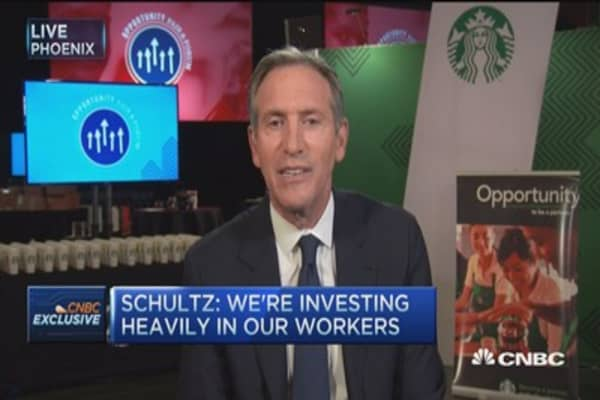 Starbucks CEO: 'We're ahead of the curve on employee benefits'