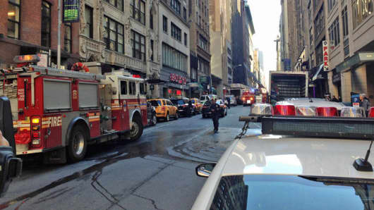 Street scene after a ceiling partially collapsed at an eight-story building under demolition on in Manhattan.