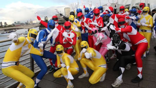 Power rangers dressed in Morphsuits
