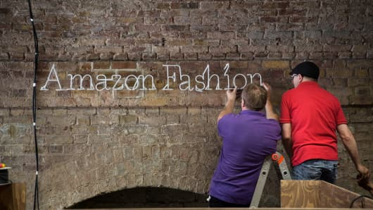 Preparations for Amazon.com's new fashion photography studio in London, last July.