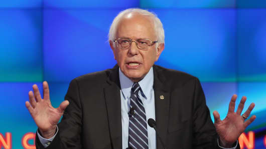 Sen. Bernie Sanders takes part in the Democratic presidential debate, Oct. 13, 2015, in Las Vegas.
