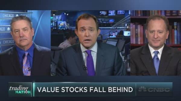 Value stocks lag behind