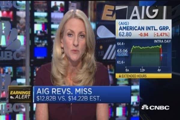 AIG's earnings, revenues miss