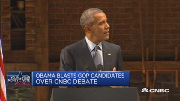 Obama blasts GOP candidates over CNBC debate