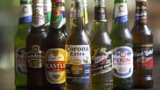 An Anheuser-Busch InBev NV branded Corona beer, along with SABMiller Plc branded beers.