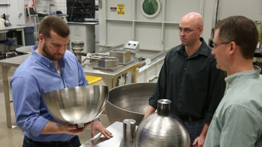 Lockheed Martin's additive manufacturing engineers discuss 3-D printed propellant tanks.
