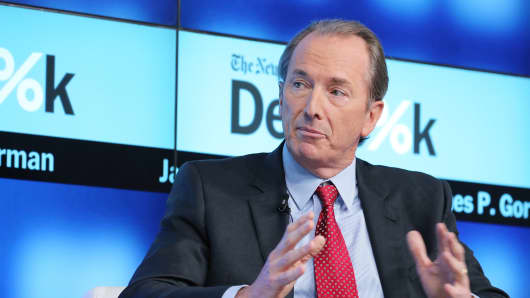 Chairman and CEO of Morgan Stanley James P. Gorman participates in a panel discussion at the New York Times 2015 DealBook Conference at the Whitney Museum of American Art on November 3, 2015 in New York City.