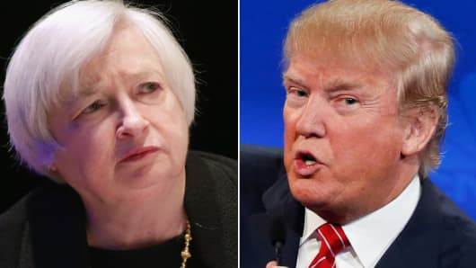Janet Yellen (L) and Donald Trump (R).