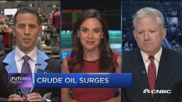 Futures Now: Crude oil surges