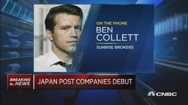 Japan Post firms make strong market debut