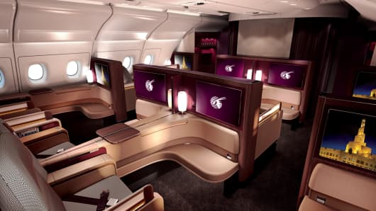 The Qatar Airways first class cabin
