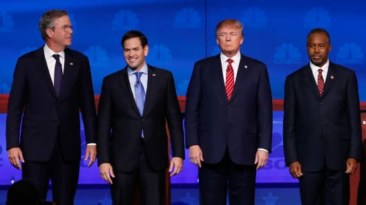 Republican candidates Jeb Bush, Sen. Marco Rubio, Donald Trump and Ben Carson.