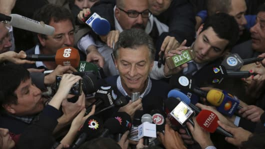 Mauricio Macri speaks to the media in Buenos Aires, Argentina.