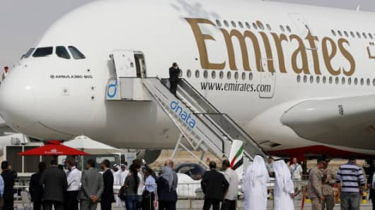 An Emirates Airline's Airbus A380-800 is displayed at the Dubai Airshow in November 2013.