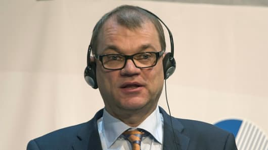 Finnish Prime Minister Juha Sipila speaks during a meeting of the Nordic Council in Reykjavik on October 28, 2015.