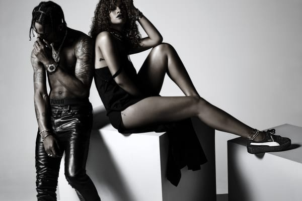 Singer Travis Scott and Rihanna in a 2015 advertising campaign for her Puma sneaker line