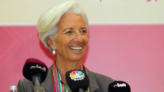 IMF Managing Director, Christine Lagarde, speaks during a press conference after meeting ministers and officials from the Gulf Cooperation Council (GCC) on November 8, 2015.