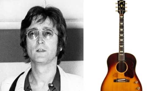 John Lennon and the J-160E Gibson acoustic guitar.