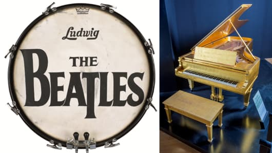 The Beatles T-Logo Drum Head and Elvis Presley's Gold Leaf Piano.