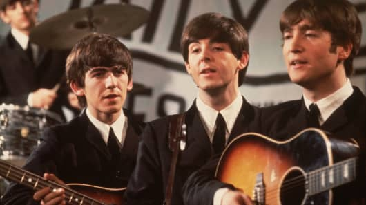 Group shot of the Beatles.